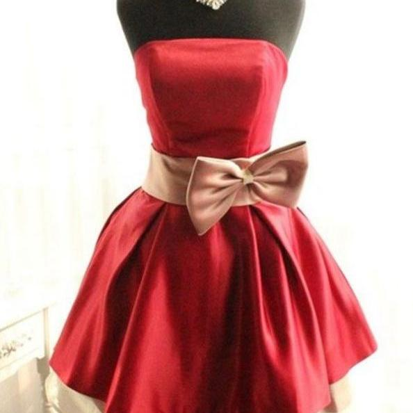 Custom Made Red Strapless Bandeau Neckline Knee-Length Satin Short Formal Evening Dress with Ribbon, Formal Dress, Weddings, Homecoming Dress