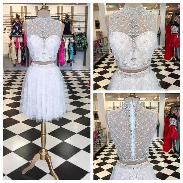 Fabulous Two Piece High Neck Short White Homecoming Dress with Beading Illusion Back