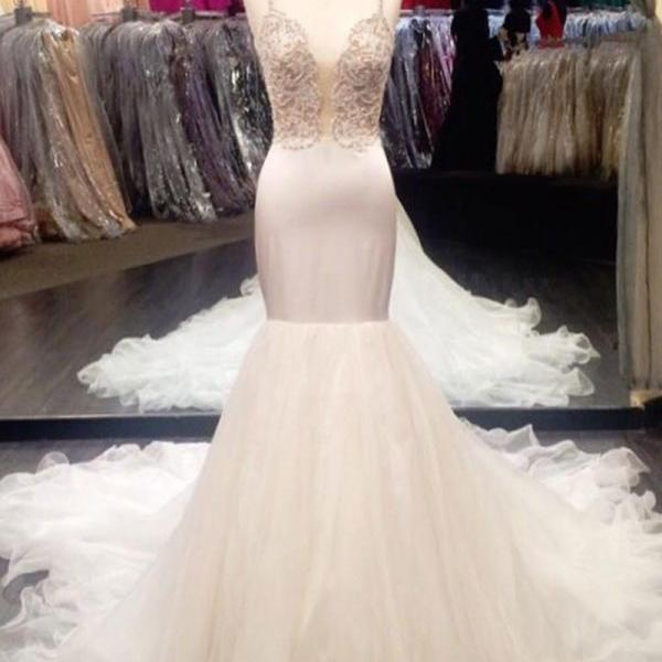 Honorable Spaghetti Straps Court Train Ivory Mermaid Prom Dress with Beading