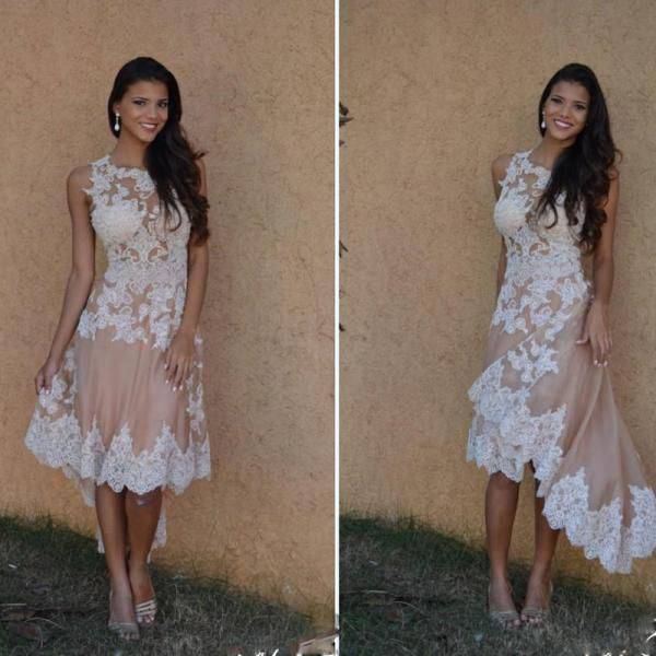 Modern Crew Neck Sleeveless High Low Champagne A-line Prom Dress with Lace Appliques
