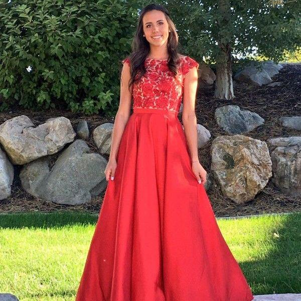 Delicate Bateau Cap Sleeves Floor Length Red Prom Dress with Lace