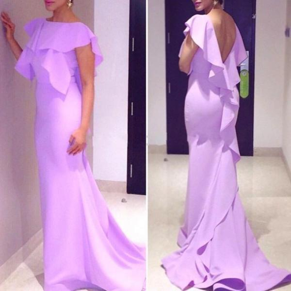 Magnetic Short Sleeves Long Lavender Backless Mermaid Prom Dress with Ruffles