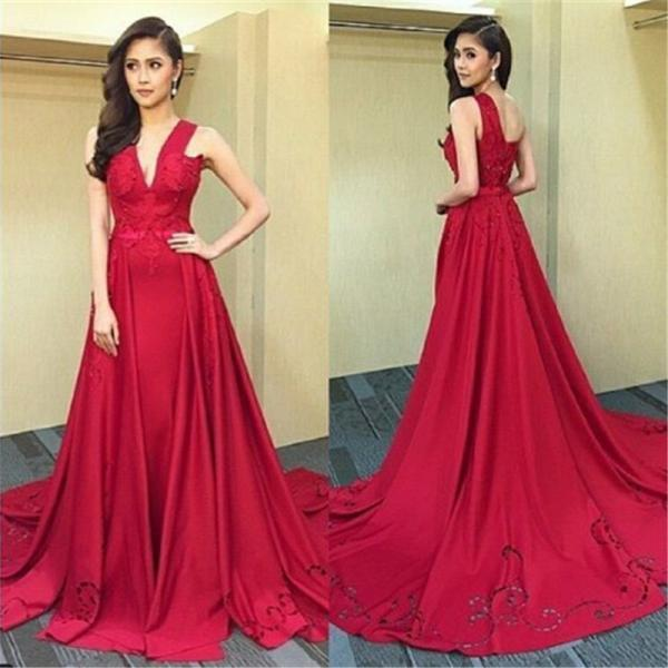 Modern A-line Floor-length Red Prom Dress with Beading,Deep V Neck Prom Dress