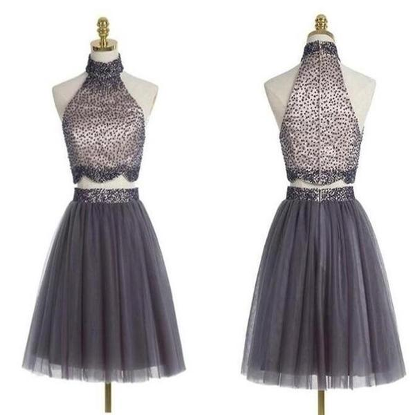 Popular grey halter two pieces beaded vintage unique style homecoming prom gowns dress