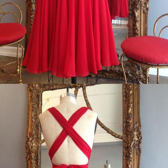 red homecoming dresses, criss cross homecoming dresses,Princess Homecoming Dress