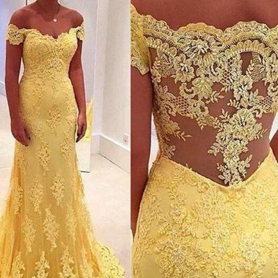 Prom Dresses, Special Occasion Dresses, 2016 Prom Dress, Long Prom Dress, Off-the-Shoulder Prom Dress, Yellow Prom Dress