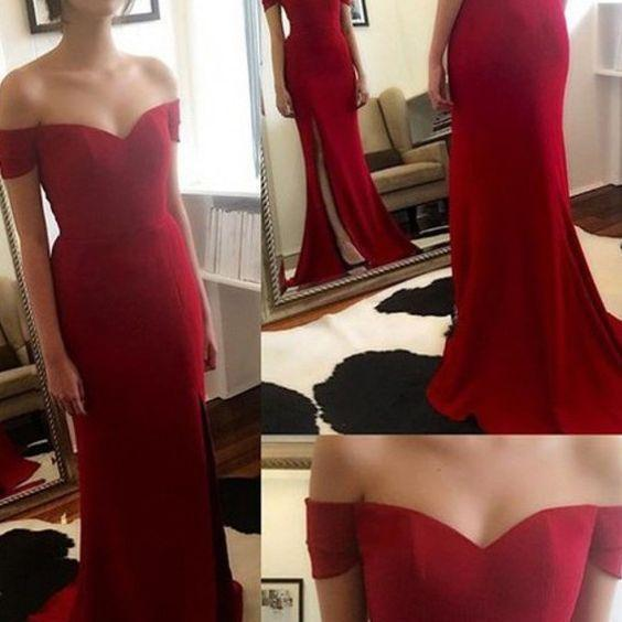 Off the Shoulder Red Prom Dresses, Floor-Length Evening Dresses, Real Made Charming Evening Dresses