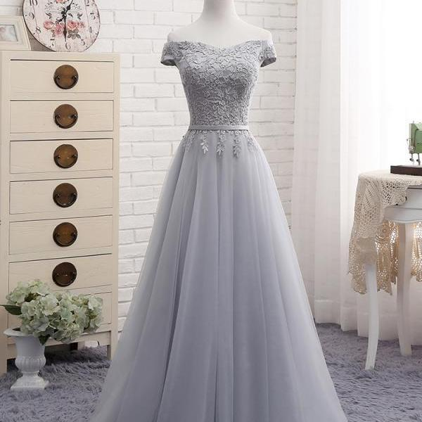 Gray Tulle Lace Prom Dress, Tulle Prom Dresses, Long Prom Dresses, Cheap Evening Dress, Prom Evening Dresses, Woman Formal Dresses