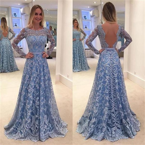 Blue Lace Prom Dresses,Long Sleeves Prom Dresses,A-line Prom Dresses,Elegant Prom Dresses,Backless PromD resses,Plus Size Prom Dress,Dresses For Teens,Women Dresses