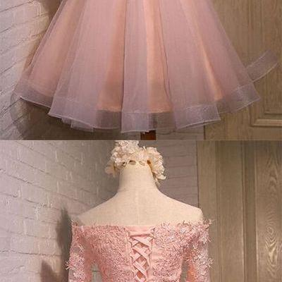Half Sleeve Tulle Prom Dress,Pink Homecoming Dress,Elegant Graduation Dress