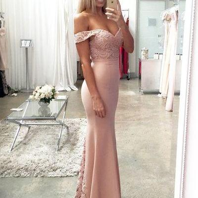 Sheath Lace Sexy Long Prom Dress,Evening Dress,Charming Prom Dresses,off the shoulder prom dress,prom dress