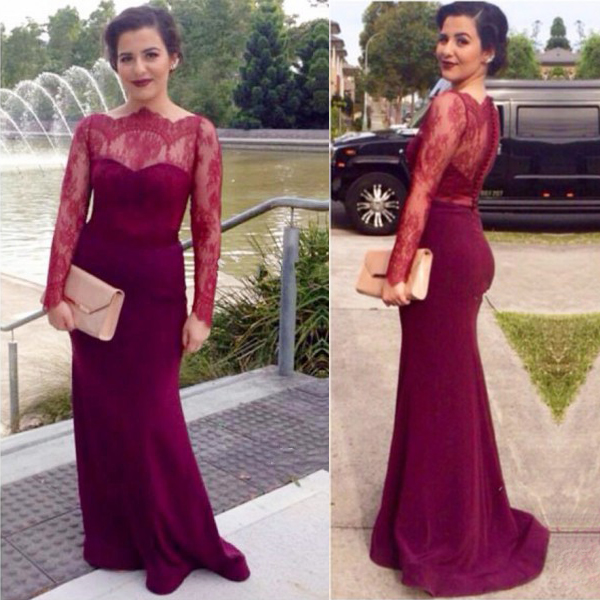 long prom dress, burgundy prom dress, lace prom dress, sheath prom dress, long sleeves prom dress, long evening dress, party prom dress