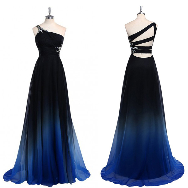 Crystal Embellished Gradient One Shoulder Floor Length A-Line Formal Dress Featuring Strappy Open Back, Prom Dress