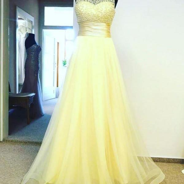 Yellow Tulle Empire Long Prom Dress , Formal Gown With Beaded Bodice