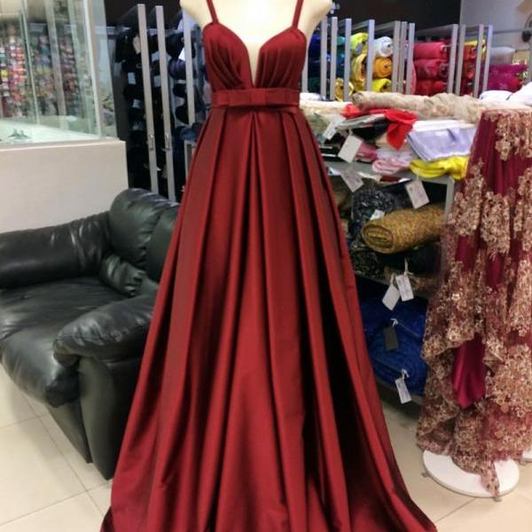 long satin bridesmaid dress,burgundy formal dress,long evening gowns,empire waist prom dress
