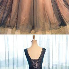 Pretty tulle v-neck applique A-line long evening dresses ,ball gown prom dress