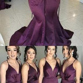 Mermaid Bridesmaid Dresses, Side Slit Bridesmaid Dresses, Long Bridesmaid Dresses