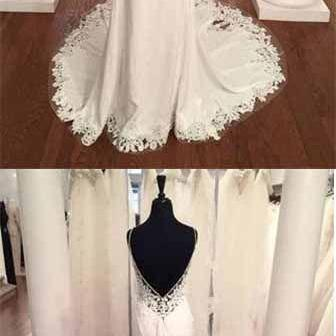 Spaghetti Strap V-Neck Vintage Lace Mermaid Backless Appliques Jersey Beach Wedding Dress