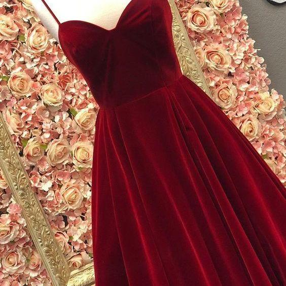 A Line Deep V Neck Floor Length Burgundy Prom Dress With Pockets, CD736