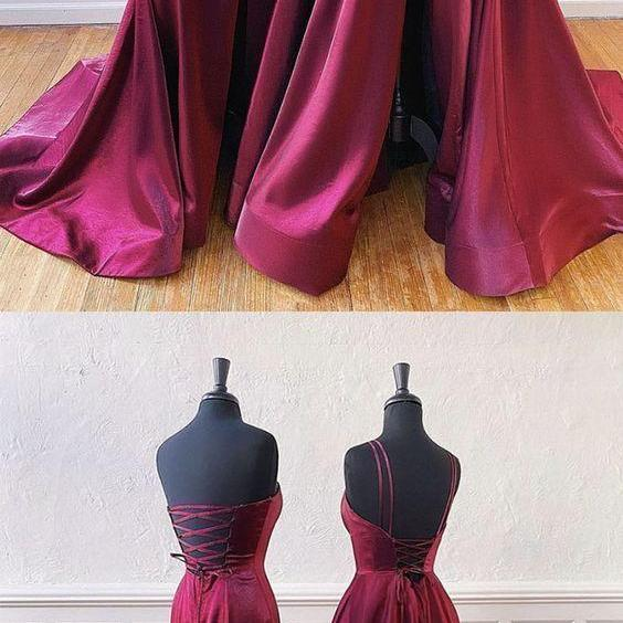 Simple satin long prom dress evening dress, CD739