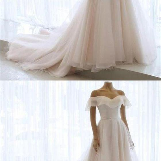 Elegant Off Shoulder Sleeveless Chiffon Wedding Dresses Long Bridal Gown, CD750