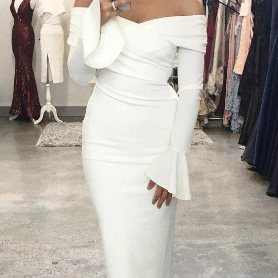 off shoulder dress white Women prom dress , CD803