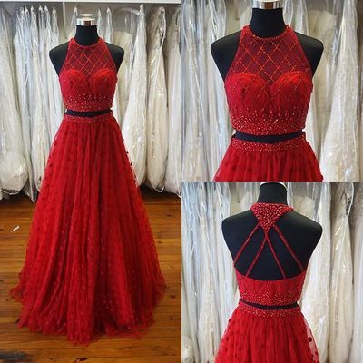 Two piece long prom dress, 2017 long prom dress, beads long prom dress, red prom dress
