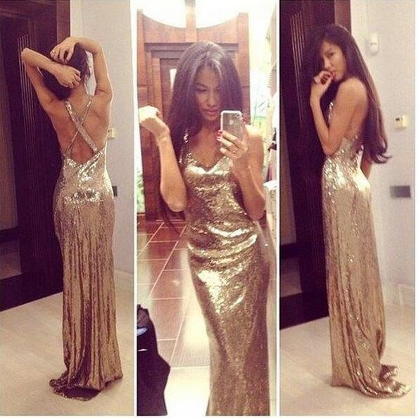 Gold sequin prom dresses, backless prom dresses, prom dresses 2017, cheap prom dresses, long prom dresses, prom dresses