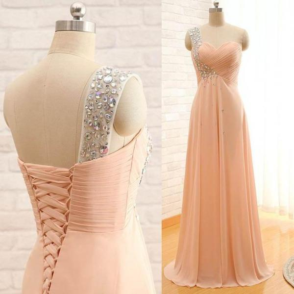 One Shoulder Prom Dress,Beaded Prom Dress,Fashion Prom Dress,Sexy Party Dress