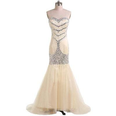 Gorgeous Strapless Mermaid Long Champagne Prom Dress with Beads