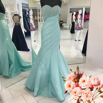 Luxurious Mermaid Long Prom Dress, 2017 Prom Dress, Light Blue Prom Dress