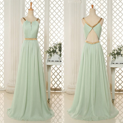 Simple A-line Scoop Long Mint Green Prom Dress with Open Back