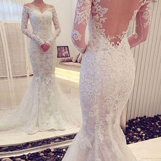Charming Off The Shoulder Long Sleeves Lace Mermaid Wedding Dress, Mermaid Lace Wedding Dress