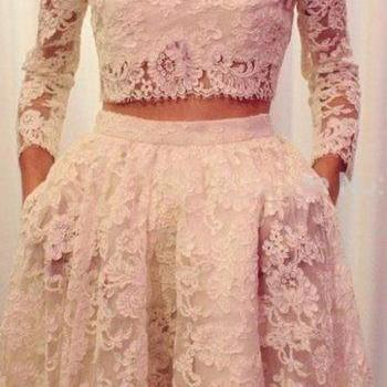 Charming Two Pieces Lace Prom Dress, Sexy Prom Dress
