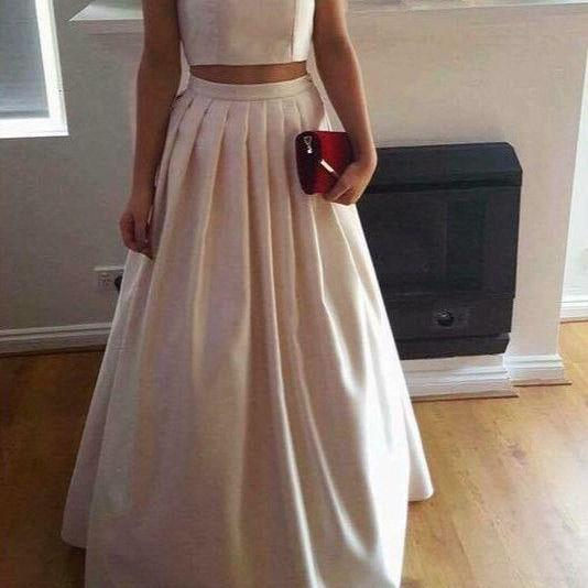 Two Piece Prom Dresses 2017, Party Dresses, Satin Long Formal Gowns