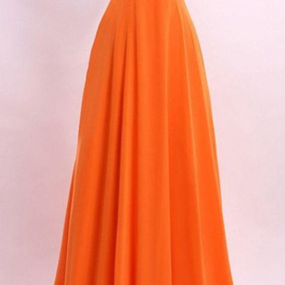 A Line Princess Orange Chiffon Prom Dresses,High Neck Long Prom Dress,See Through Back Beads Evening Dress Prom Gowns