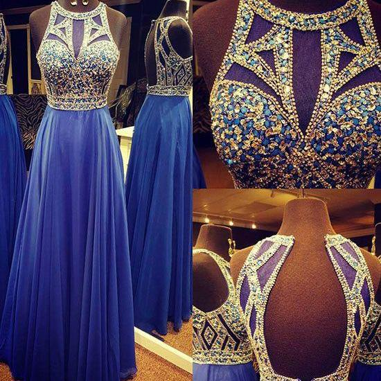 Unique round neck sequin long prom dress, blue evening dress
