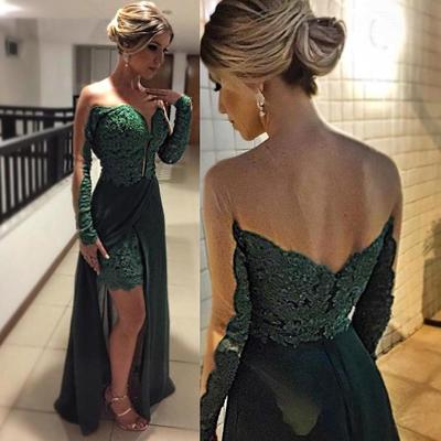 Long Sleeve Lace Custom Made Long Prom Dress,Evening Dress,Prom Dresses