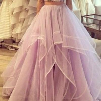 Two Pieces Sweetheart Ball Gown Long Tulle Quinceanera Dress/Prom Gown/Prom Dress