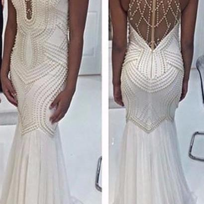 White Mermaid Prom Dresses 2017 High Neck Beautiful White Pearls Long Sexy Prom Party Gowns Custom Evening Dress