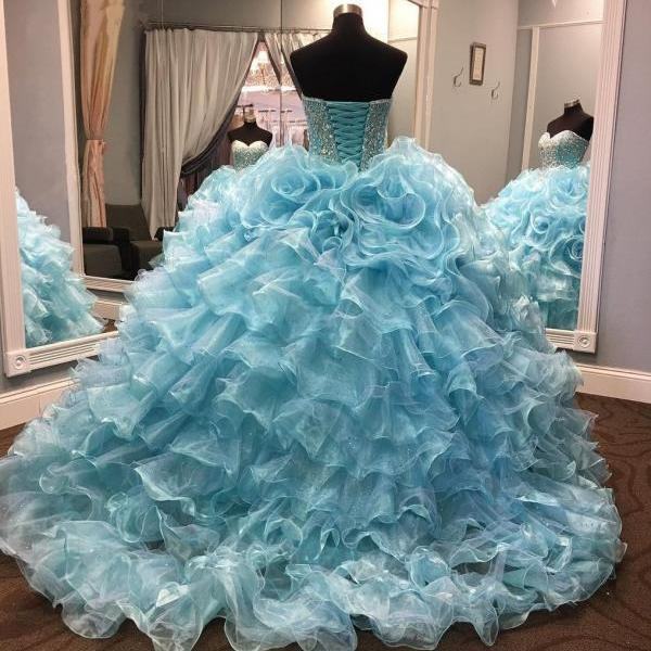 Crystal Beaded Sweetheart Organza Layered Quinceanera Dresses 2017