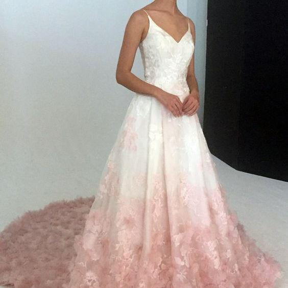 Elegant Spaghetti Straps Prom Dress,Sweep Train Evening Dress,Flower Dress